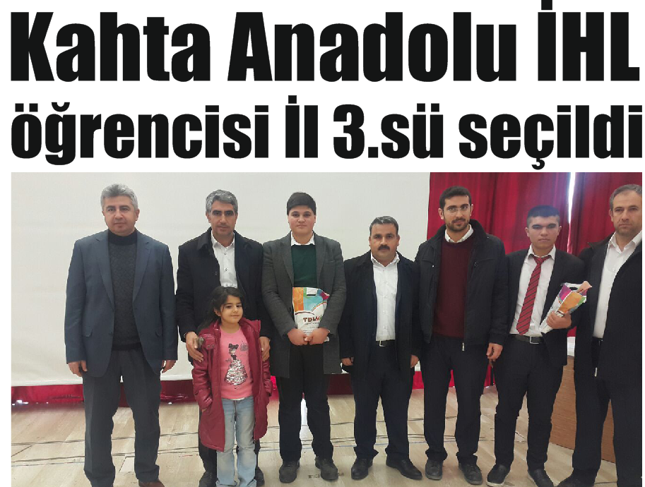 Kahta Anadolu İHL Öğrencisi İl 3.Sü Seçildi