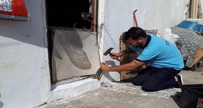 Kahta'da Kafası duvara sıkışan kedi kurtarıldı